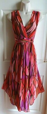AU5.52 • Buy WALLIS Long Pink Red Purple Grecian Floaty Layer Evening Occasion Dress Size 18
