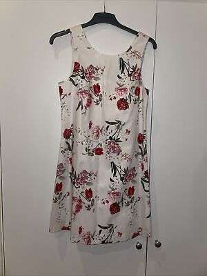 AU23.46 • Buy Forever New Cream And Red Rose Pattern Dress Size 8 BNWT