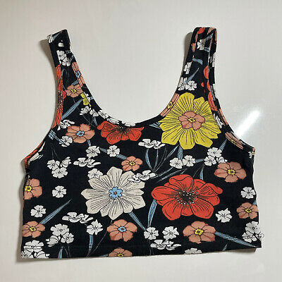 AU1.83 • Buy Pull And Bear Floral Crop Top Size Small