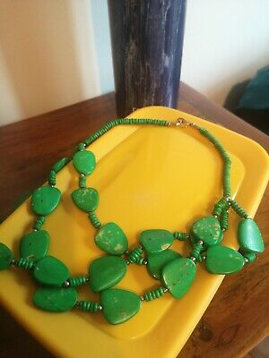 £2.20 • Buy Statement Green Stone Necklace Multi Row Festival Wedding Worn Once!