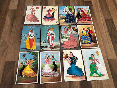 £10 • Buy Vintage Collection Of 12 Embroidered Spanish Postcards Mainly Spanish Dancers L1