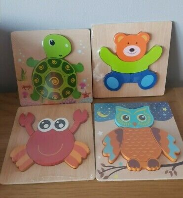 £7.95 • Buy Wooden Animal Letter Puzzle Jigsaw Early Learning Baby Kids Educational Bundle 4