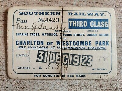 £4 • Buy Southern Railway 1923 Annual Ticket To Charlton Or Westcombe Park, 3rd Class