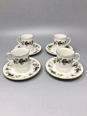 £7.50 • Buy Royal Doulton Bone China Larchmont 4 Espresso Coffee Cups & Saucers Green Leaves