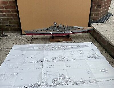 £48 • Buy Model Of The Bismarck With Design Picture And Back Board