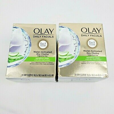AU22.30 • Buy 2X OLAY Daily Facials Sensitive Clean 5 In 1 Water Activated Dry Cloths 33Ct