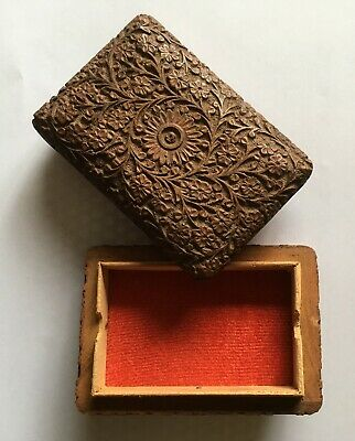 £2.99 • Buy Hand-carved Wooden Box, Felt-lined, Ideal For Small Cards/trinkets 5 X3.5