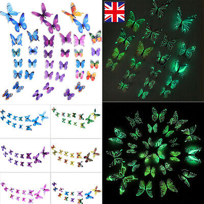 £2.59 • Buy 12 X 3D Butterfly Wall Stickers Home Decor Room Decoration Sticker Bedroom Girls
