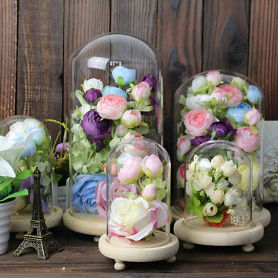 £14.95 • Buy Clear Glass Display Cloche Bell Ornaments Flower Jar Dome Wooden Base Stand