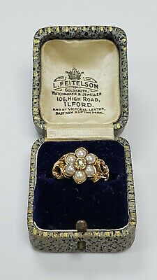 £395 • Buy Antique 18ct Gold Seed Pearl & Diamond Mourning Ring (83835)