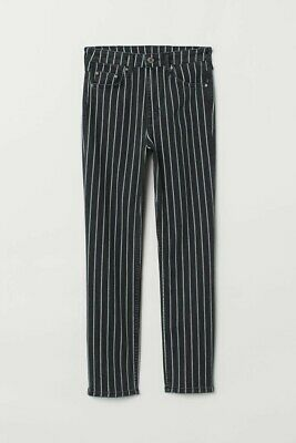 £7.99 • Buy H&M Divided Pinstripe Jeans Size 16 Black & White Low Rise