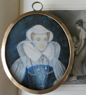 £135 • Buy Large Miniature Portrait Of Mary Queen Of Scots On Copper