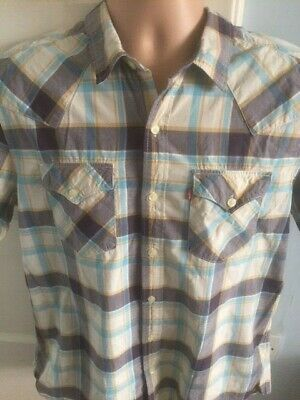 £11.50 • Buy Levi's Shirt Large Summer Short Sleeve Multi Checked Red Tab Classic Western L