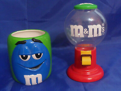 $19.99 • Buy M&M Red Plastic Candy Dispenser Gumball Machine & 2003 Galerie M&M Blue Canister