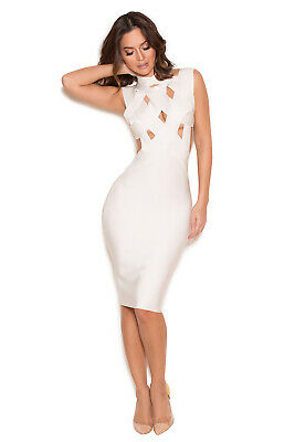 $13.90 • Buy HOUSE OF CB 'Simi' White Cut Out Bandage Dress L 12 / 4 MM 217