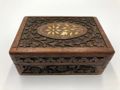 £19.99 • Buy Beautiful Hand Carved Wooden Box With Red Lining