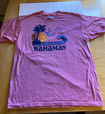 $ CDN56.59 • Buy Vintage It's Better In The Bahamas T Shirt Pink Sz L 42-44 Hanes 50/50 Tag 80s