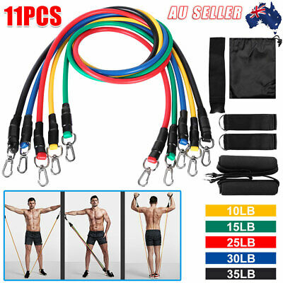 AU17.45 • Buy 11PCS Resistance Bands Yoga Pull Rope Strength Training With Handles Door Anchor