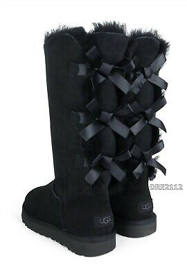 £143.14 • Buy UGG Bailey Bow Tall II Triple Black Suede Fur Boots Womens Size 7 *NEW*