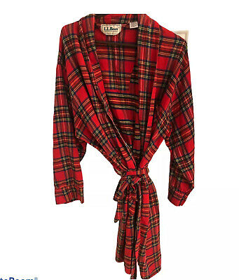 $34.99 • Buy Vintage LL Bean Mens Medium Plaid Flannel Robe Belted With Pockets