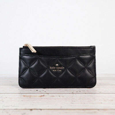 $ CDN69.17 • Buy NWT Kate Spade Natalia Quilted Leather Large Slim Card Holder In Black