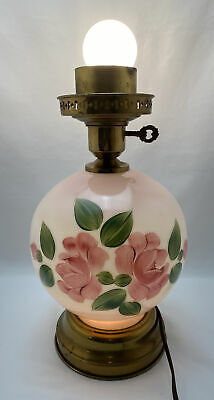 $49.95 • Buy Vintage Hurricane Electric Lamp Base White Milk Glass With Pink Roses Floral 14