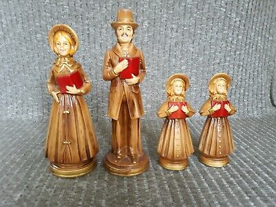 $ CDN18.88 • Buy Vintage Christmas Set Of 4 Paper Mache Victorian Family Dickens Style Carolers
