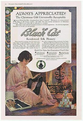 £10.88 • Buy 1916 BLACK CAT Silk Hosiery Lady Next To Fireplace On Christmas Color Print Ad
