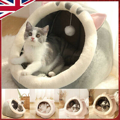 £18.60 • Buy Cat Small Dog House Bed Kitten Pet Igloo Soft Fleece Cave Puppy Cozy Dome