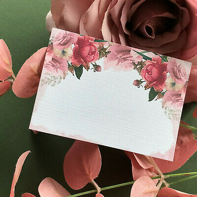 £3.20 • Buy Rose Gold Flat Placecards Floral Name Cards Wedding Place Setting Floral Pink