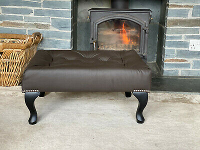 £129.99 • Buy Footstool Pouffe Genuine Leather Queen Anne Legs Hand Made In UK