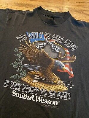 $ CDN163.64 • Buy Vintage 1992 Smith & Wesson Right To Bear Arms 3D Emblem T-Shirt Large 21x28