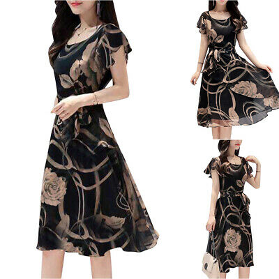 AU22.51 • Buy Lady Floral Short Sleeve Dress Holiday Woman Party Knee Length A-Line Sundress