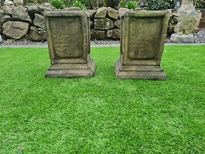 £115.99 • Buy Small Pair Stone Panel Plinths Statue Garden Ornament (delivery Available)