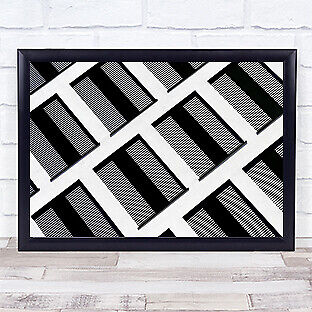 £35.99 • Buy Facade Abstract Windows Lines Repetition White Black Building Wall Art Print
