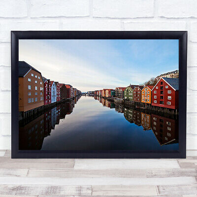 £49.99 • Buy Norway Architecture Buildings Colourful River Water City Skyline Wall Art Print