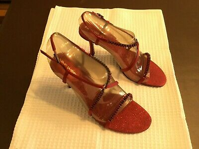 £10 • Buy 1 Pair Ladies Evening/Special Occasion Shoes, Size 7 1/2W, Colour Red With Glitt
