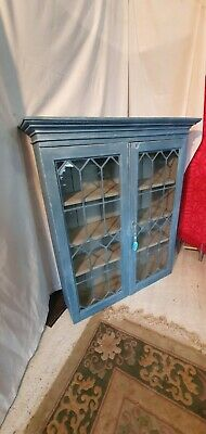£58 • Buy Antique Bookcase With Adjustable Shelves And  Lead Glazed Locking Doors