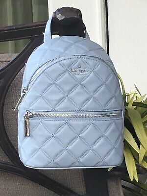 $ CDN149.79 • Buy Kate Spade Natalia Mini Convertible Backpack Bag Quilted Frosted Blue Leather