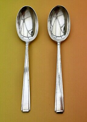 £16 • Buy COOPER BROS TABLE SPOONS X2 ART DECO 1937 SILVER PLATE CUTLERY SHEFFIELD 20.5cm