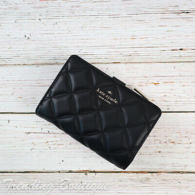 $ CDN98.19 • Buy NWT Kate Spade Natalia Quilted Leather Medium Compact Bifold Wallet In Black