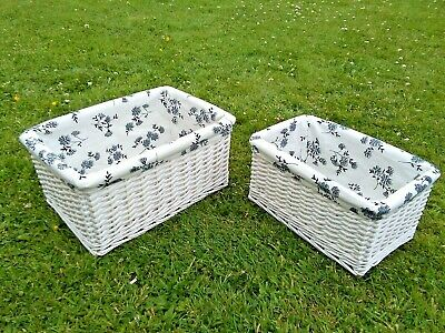 £19.99 • Buy Natural Wicker White Pair Oblong Storage Baskets With Lovely Blue Floral Liners