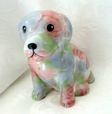 £6 • Buy Park Rose Sitting Little Puppy Dog Ornament Pink & Blue Flowers - So Cute