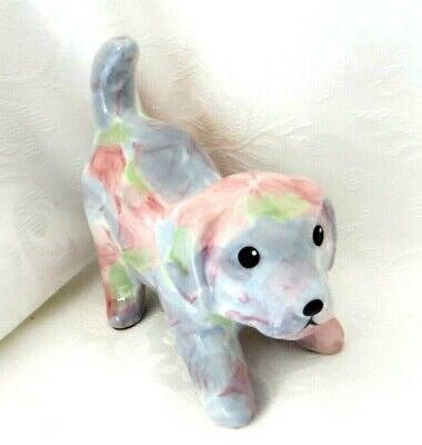 £6 • Buy Park Rose Crouching Little Puppy Dog Ornament Pink & Blue Flowers - So Cute