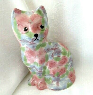 £10 • Buy Park Rose 8  Sitting Cat Ornament Pink & Blue Flowers - Perfect Condition