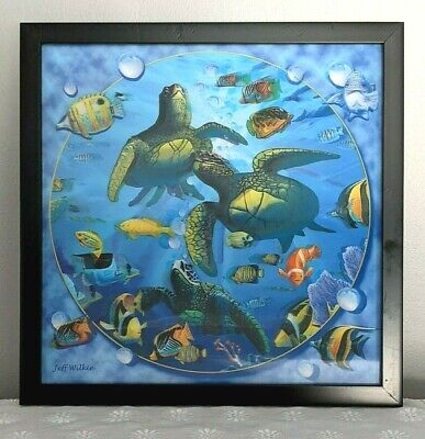 £21.59 • Buy Fish Sea Turtles Ocean Wall Art 3D Hologram Illusion Of Depth Framed Picture