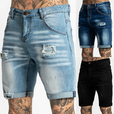 $26.19 • Buy Mens Ripped Jeans Frayed Denim Shorts Casual Distressed Slim Fit Summer Pants US