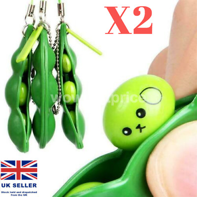 £2.79 • Buy 2x Pea Popper Anti-Anxiety Stress Relief Toy Autism Keyring ADHD Squeeze A Bean