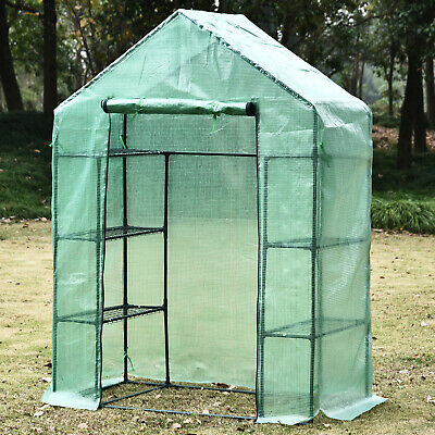 £46.99 • Buy 3 Sizes Walk In Garden Greenhouse With Shelves Polytunnel Steeple Grow House New