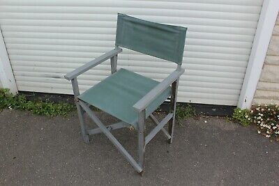 £39.95 • Buy Vintage Directors Chair Green Canvas Wood Frame Folding Garden Camping VW